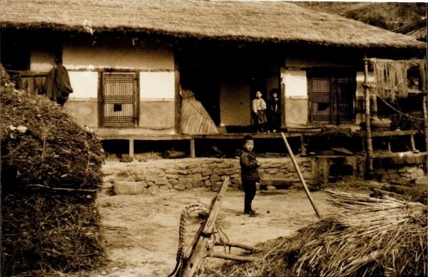 음지마 옛집 마당. 한쪽에 모친이 삼던 삼줄기가 걸려 있다